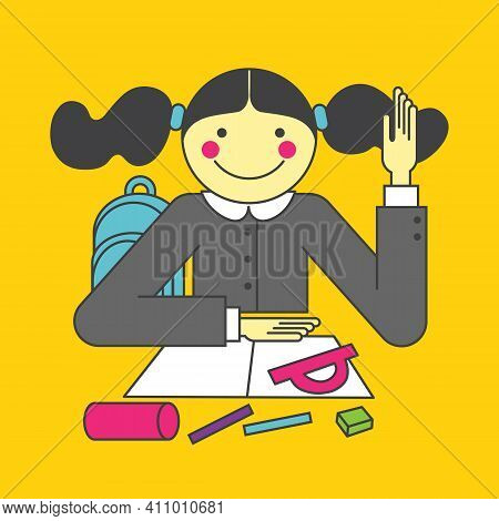 Smart Little Girl Putting Up Her Hand In Class To Answer A Question. Vector Isolated On Yellow Backg
