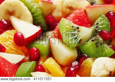 Pieces Of Raznfh Fruit Close-up In Full Screen, Fruit Salad.