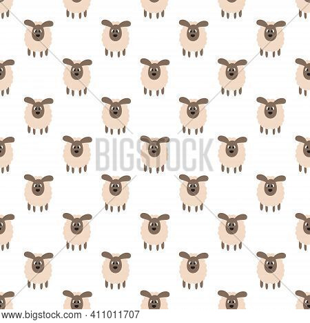 Seamless Pattern With Animals Is On A White Background. Illustration For A Cover, A Poster Or A Text