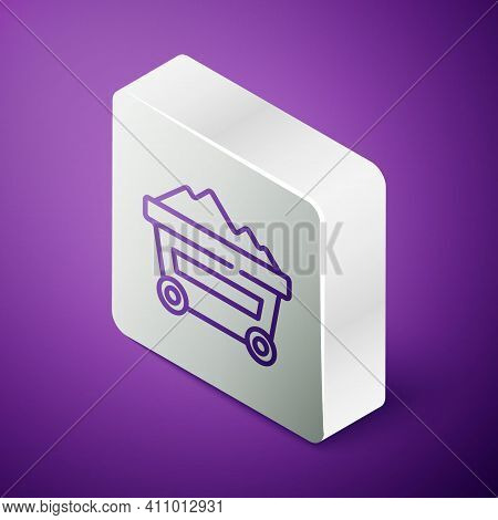 Isometric Line Coal Mine Trolley Icon Isolated On Purple Background. Factory Coal Mine Trolley. Silv
