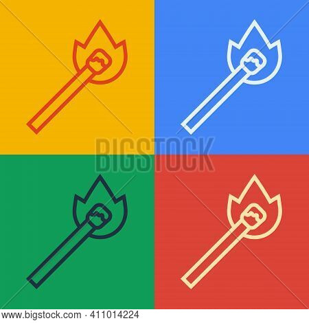 Pop Art Line Burning Match With Fire Icon Isolated On Color Background. Match With Fire. Matches Sig