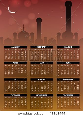 Islamic Calender 2013 with Mosque or Masjid. EPS 10. poster