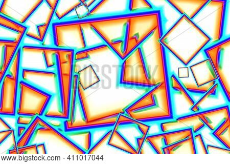 Chaotic Geometric Cubic Pattern In Multi-color On White, Illustration