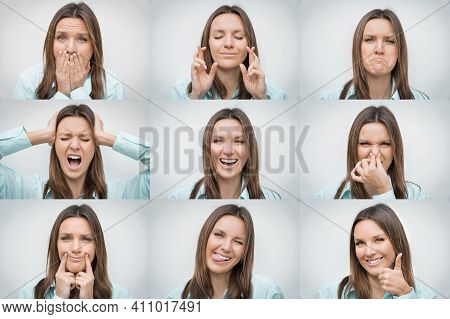 Set Of Beautiful Woman Portraits With Different Facial Emotions Or Expressions And Gestures Isolated