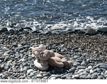 Teddy Bear Couple Sunbathing On Stone Beach Beside Sea Wave