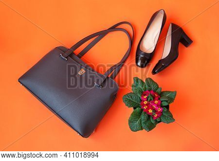 Gray Leather Bag, Black Shoes And Primrose Flower On Orange Background. Top View.