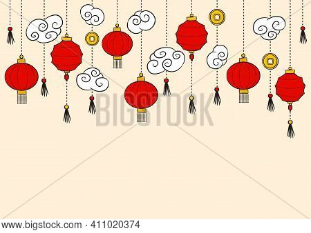 Pattern Of Hand-drawn China Lanterns Suspended On Chains. Hanging Curly White Clouds And Gold Coins.