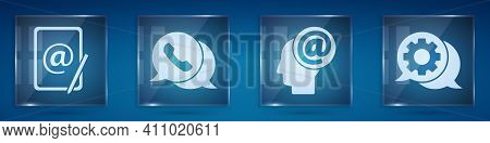 Set Mail And E-mail, Telephone With Speech Bubble Chat, Mail And E-mail And Speech Bubble Chat. Squa