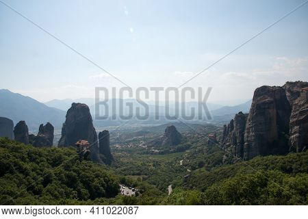 Beautiful Landscape With Meteora Mountains And Monasteries, Kalambaka, Greece