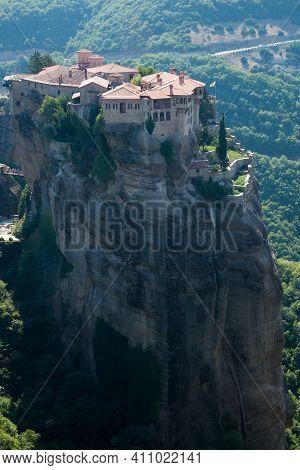 Orthodox Monastery On Top Of Meteora Mountain. Kalambaka, Greece