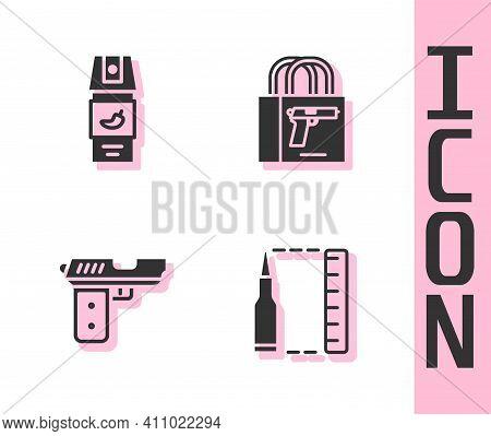 Set Bullet, Pepper Spray, Pistol Or Gun And Buying Pistol Icon. Vector