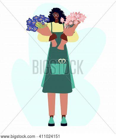 Woman Compose Bouquet Forist Shop Or Store.