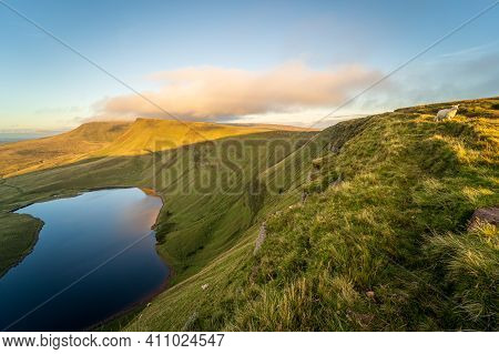 Llyn Y Fan Fach, A Lake On Black Mountain In Carmarthenshire, Brecon Beacons National Park, South Wa