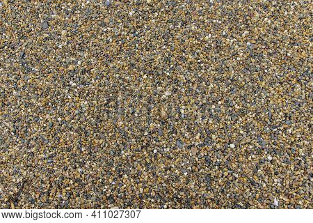 Natural Chipped Stone Background. Natural Gray Granite Chips, Crushed Stone Or Crushed Stone Texture