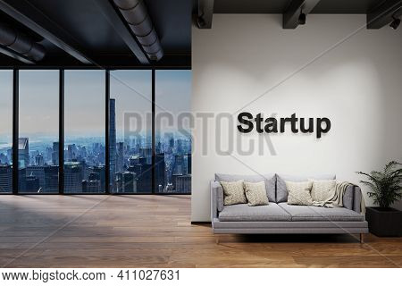 Luxury Loft With Skyline View And Single Vintage Couch, Wall With Startup Lettering, 3d Illustration