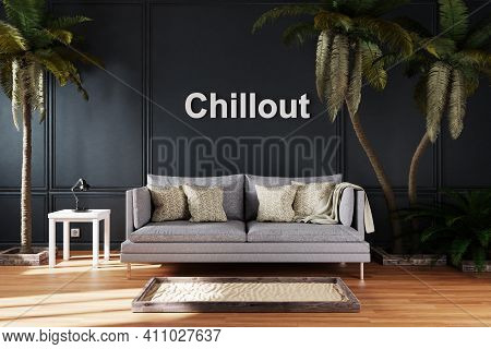 Elegant Living Room Interior With Vintage Sofa Between Large Palm Trees; Chillout Home Lettering; 3d