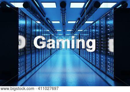 Gaming Logo In Large Data Center With Multiple Rows Of Network Internet Server Racks, 3d Illustratio