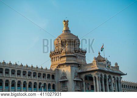 Bangalore, India - April 4 2019 : Karnataka State Vidhan Sabha (vidhana Soudha) Building In Bangalor