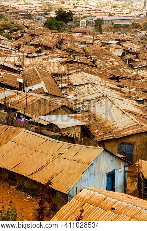 A Look At Some Of The Homes And Rooftops Packed Together In The Slums Of Kibera In Nairobi, Kenya.