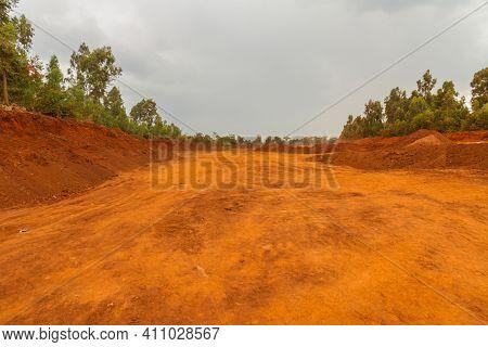 A Very Red Dirt Road In Nairobi, Kenya.