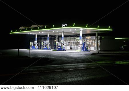 Havirov, Czech Republic - October 5, 2019:  The Omv Gas Station With Maxxmotion Fuels And Shop For C