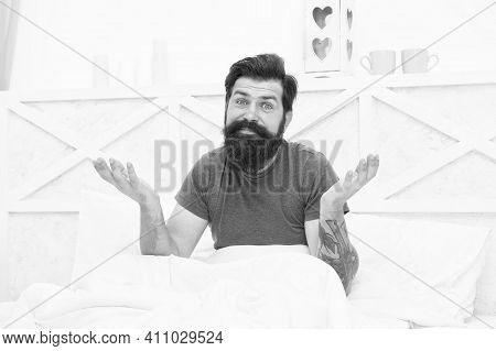 Relax Lifestyle Concept. Smiling Bearded Man In Bed. Morning Erection. Bachelor Wake Up Early. Guy A