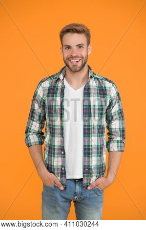 Cheerful Mood. Menswear And Fashionable Clothing. Man Looks Handsome In Casual Style. Guy With Brist