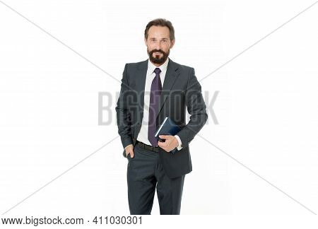 Well Organized. Businessman Planning Schedule Hold Notepad. Man Bearded Manager Smiling Face. Succes