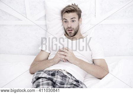 Subscribe Streaming Tv Services. Guy Watching Television In Bedroom. Online Tv Concept. Best Alterna