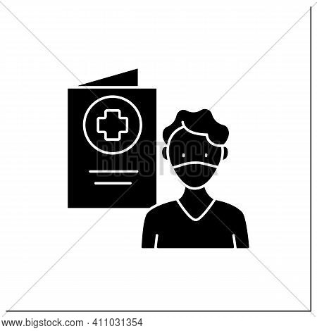 Covid19 Passport Glyph Icon. Man In Mask Has Got Necessary Document. Vaccination Card. Health Care,