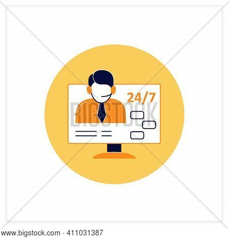 Support Service Flat Icon. Day-and-night Community Service. Food Consultant. Phone Assistant, Online