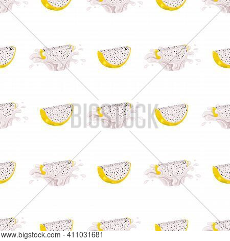 Seamless Pattern With Fresh Bright Yellow Pitaya Juice Splash Burst Isolated On White Background. Su