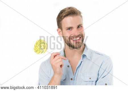 Happy Macho With Lollipop. Man Smile With Candy On Stick Isolated On White Background. Food And Snac