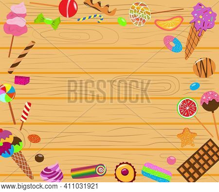 Sweets Elements Frame On Wooden Background. Candies Collection. Chocolate Bars, Candies And Other Sw