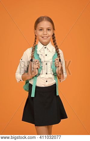 Totally Ready. Schoolgirl Daily Life. School Club. Private Schooling. Teen With Backpack. Cute Smili