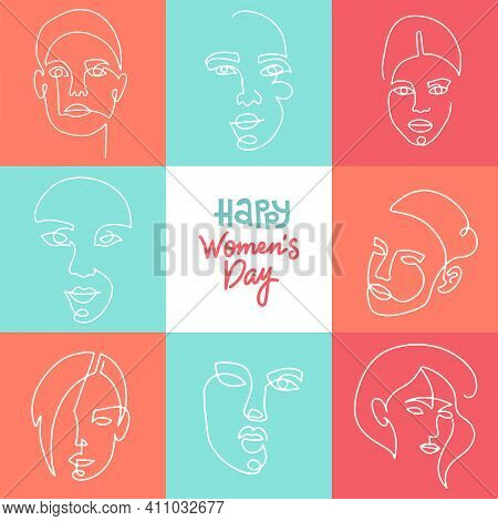 Greeting Card With Linear Women Faces. International Womens Day Postcards. 8th March Holiday. Sister