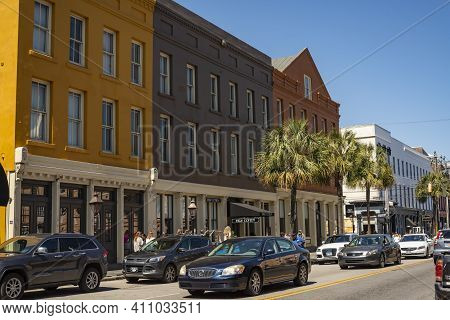 Charleston, South Carolina, Usa - March 28, 2019: The Historic Charleston City Market. As One Of The