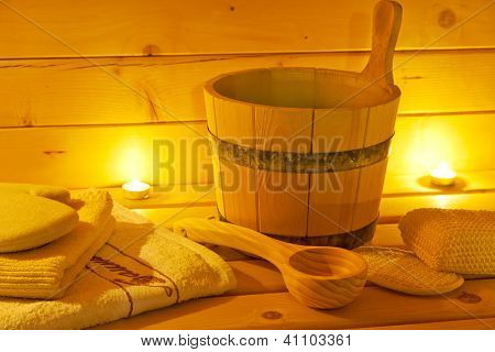 interior of sauna and sauna accessories. wellness and spa concept