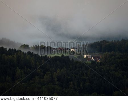 Panorama Landscape View Of Idyllic Rural Countryside Hamlet Houses Buildings At Woerthersee Lake Wor