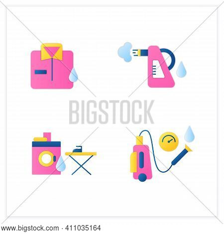 Cleaning Services Flat Icons Set.consists Of Dry Cleaning, Laundry, Steaming, Pressure Washing. Clea