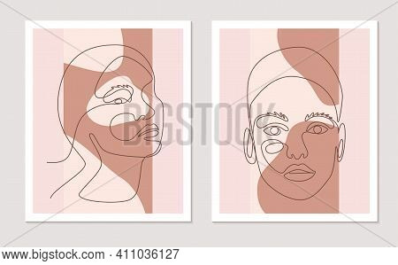 Abstract Line Wall Art Vector Set With Women Faces. Continuous One Line Drawing With Abstract Shape.