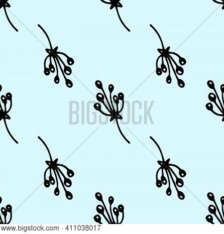 Vector Floral Seamless Pattern Of Twigs With Berries In Black Outline On A Light Blue Background. Na