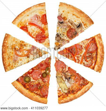 Mix Of Six Different Pizzas Isolated On White Background.
