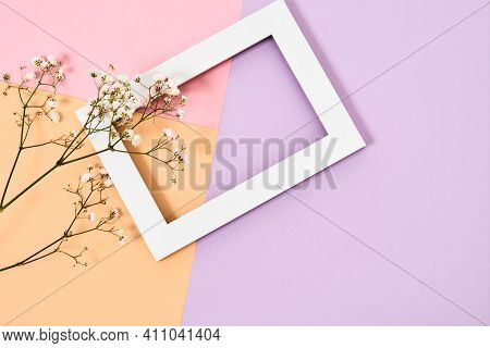 Spring Composition For The Holiday On March 8. Composition With Flowers And Frame For The Holiday On
