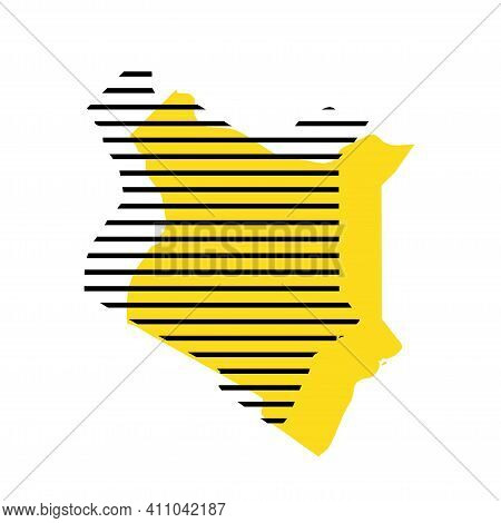 Kenya - Yellow Country Silhouette With Shifted Black Stripes. Memphis Milano Style Design. Slimple F