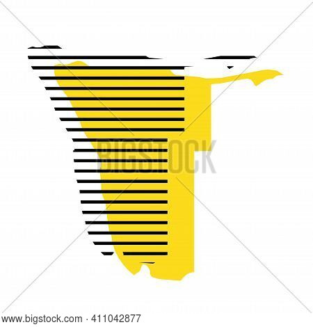 Namibia - Yellow Country Silhouette With Shifted Black Stripes. Memphis Milano Style Design. Slimple