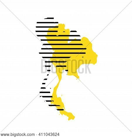 Taiwan - Yellow Country Silhouette With Shifted Black Stripes. Memphis Milano Style Design. Slimple