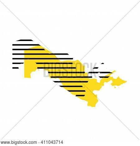 Uzbekistan - Yellow Country Silhouette With Shifted Black Stripes. Memphis Milano Style Design. Slim