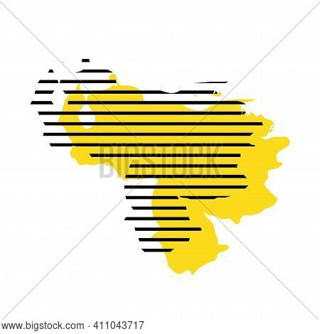 Venezuela - Yellow Country Silhouette With Shifted Black Stripes. Memphis Milano Style Design. Slimp