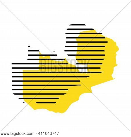 Zambia - Yellow Country Silhouette With Shifted Black Stripes. Memphis Milano Style Design. Slimple